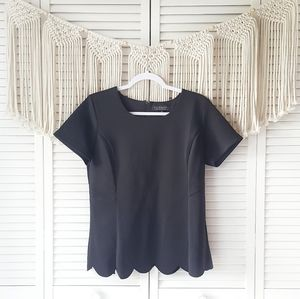 ELOQUII Black Scalloped Hem Fitted Top Blouse 14